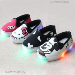 baba,gyerek,világító talpú led cipő,fiú,lány,mickey mouse,hello kitty