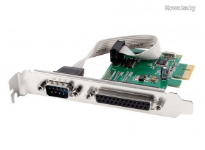 Gembird PEX-COMLPT-01 COM serial port + LPT port PCI-Express add-on card, with extra low-profile ...