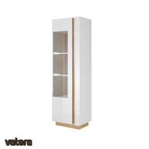 CITY magas vitrines szekrény, fehér/Grandson tölgy /magasfényű fehér