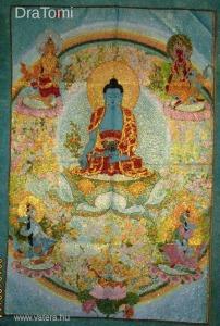 Régi tibeti hímzett selyem thangka falikép - Satin Shakyamuni Amitabha Buddha  - 60 x 90