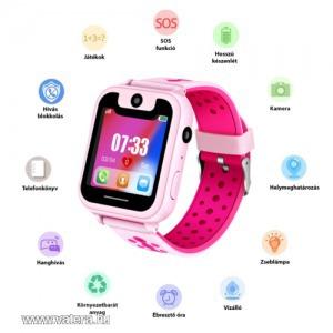 Gyerek okosóra GPS nyomkövetéssel (SOS funkció, virtuális kerítés, SIM foglalat, 2MP kamera)