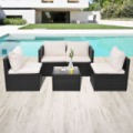 SESTO Kerti bútor szett 13 darabos polyrattan Fekete