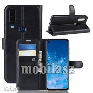 MOTOROLA P40 Power, WALLET notesz mobiltok, Fekete