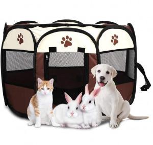 Kutya cica kisállat kennel fekhely utazó ágy összecsukható barna színben