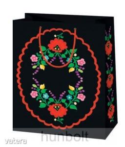 Kalocsai terítős fekete lakk dísztasak (ajándék tasak)- 21x16 cm