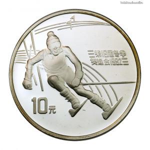 Kína 10 Yuan 1991 PP Téli Olimpia Albertville 1992 Műlesiklás