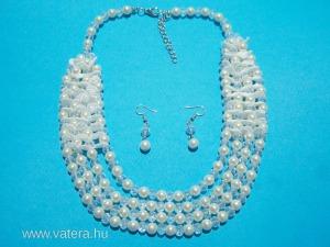 ESKÜVŐI nyaklánc fülbevaló menyasszonyi 4 soros alkalmi gyöngy kristály csipke.VAN