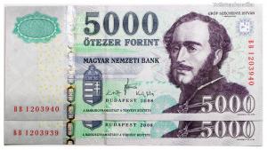 5000 Forint Bankjegy 2008 BB széria sorszámkövető pár