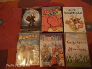 6 db-os klasszikus  DVD mese csomag kicsiknek Madagaszkár,Hugó a víziló,Alice csodaországban!