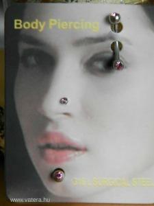 szemöldök orr arc piercing testéksz rózsa kristály