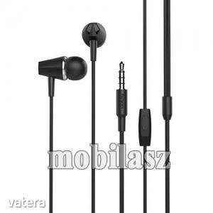 HOCO M34 sztereo headset - 3,5mm Jack, mikrofon, felvevő gomb, 1,2 m vezetékkel - FEKETE