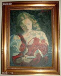 Boros Adél - Lányregény - 48 x 38-as olajfestmény, kerettel együtt - Pesten ingyen házhoz viszem!