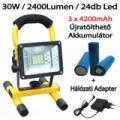 30 wattos hordozható LED reflektor, 3 x 4200mAh akkumulátor(12600mAh)