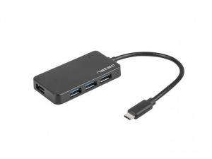 Natec Hub USB 3.0 Moth 4-ports, Black, USB-C
