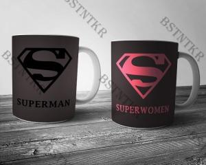 Superman Superwomen páros mintás bögre Valentin napra Valentin nap