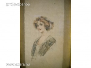 P100 Selyemre festett fiatal női portré