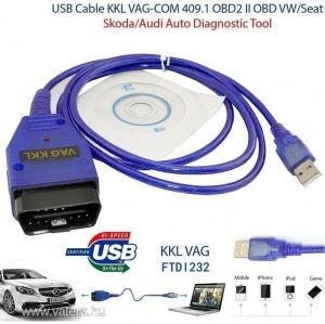 VAG-COM OBD2 OBD 2 diagnosztikai USB kábel interfész / olvasó és törlő Volkswagen Audi Seat Skoda