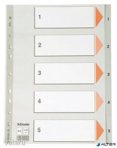 Regiszter, műanyag, A4, 1-5, ESSELTE, szürke