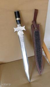 Damast, Rövid kard-vadásztőr.túlélő.. ki,- minek akrja ,kovácsolt kézimunka~~~~