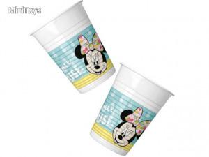 Minnie egér műanyag pohár zöld színben 200ml 8db