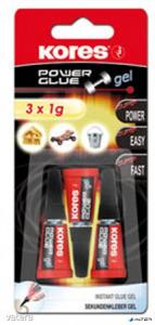 Pillanatragasztó gél, 3x1 g, KORES Power Glue Gel
