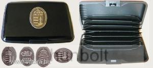 Bankkártya tartó metál fekete színű ón Erdély címer matricával