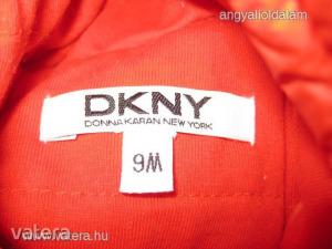 DKNY narancsos piros nagyon szép színű pufi téli hibátlan bébi kabát 9 hó 74 cm