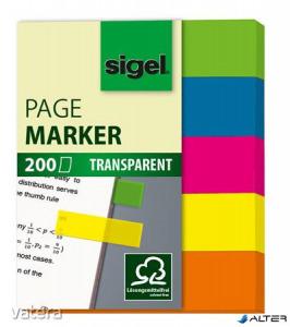 Jelölőcímke, műanyag, 5x40 lap, 12x50 mm, SIGEL '615', vegyes szín