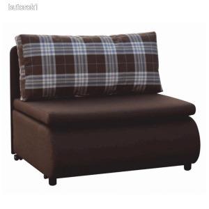Kinyitható fotel, barna/káró minta, KENY NEW