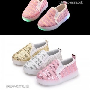 baba,gyerek,lány,világító talpú led cipő,csillámpor,csillógó,flitter