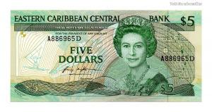 Kelet-karibi Államok 5 Dollár Bankjegy 1986-1988 P18d