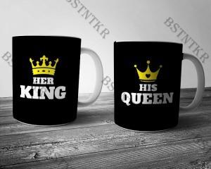 King-Queen páros mintás bögre Valentin napra Valentin nap