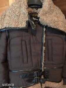 Szőrmés átmeneti kabát barna, bőrrel kombinált S-es