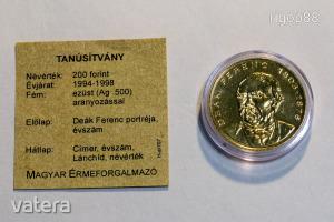 Deák Ferenc aranyozott ezüst 200 Forint 1994 [39]