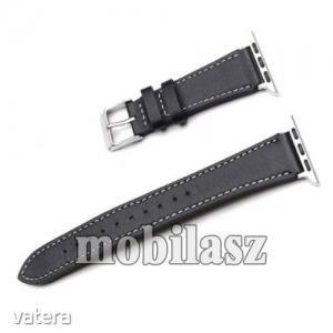 Okosóra szíj - FEKETE - valódi bőr -  Apple Watch Series 1/2/3 38mm / APPLE Watch Series 4 40mm /...