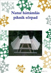 Natur Háttámlás Piknik kerti pad