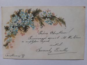 Képeslap, levelezőlap - virágok nefelejcs motívum 1899. bélyeg Túrkeve