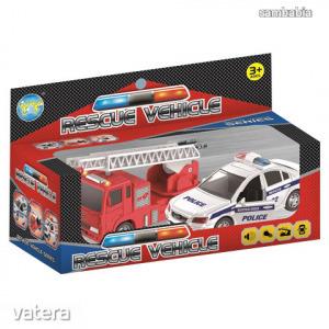 rescue veichle 2db-os tűzoltó és rendőrautó szett fénnyel és hanggal