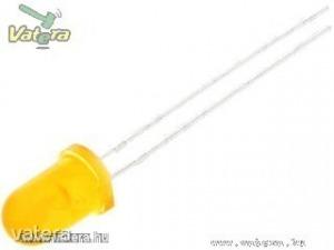 10db LED - Narancs, 5mm, 1400 mcd, 50° - Diffúz Tok
