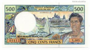 Francia Csendes-óceáni Területek 500 Frank 1992 Pick:1b