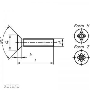 Dresselhaus Süllyesztett csavarok  H DIN 965 - DIN EN ISO 7046 A2 - M3x10 - 2000 db