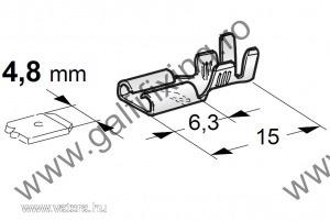 Csúszóérintkező hüvely, 4,8 mm, 25 db/csomag