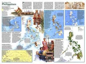 Eredeti térképmelléklet - National Geographic Magazine 1986. The History of the Philippines