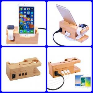 bambusz fa tartó töltő iPhone 5 SE 6 7 8 Plus X Xs 11 11 Pro Pro Max és Apple Watch készülékekhez
