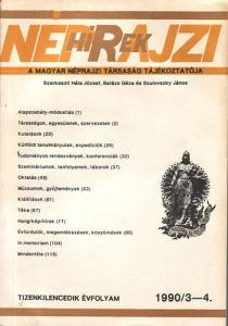 Néprajzi hírek 1990/3-4. (XIX évf.)