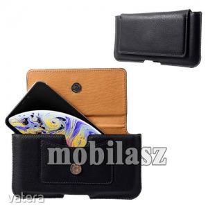Fekvő tok - övre fűzhető, bankkártyatartó zseb, mágnesescsatos záródás - FEKETE - Apple Iphone XS...