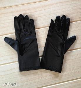 Fekete alkalmi Gyász  kesztyű elasztikus szatén kiegészítő ,Új