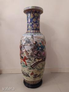 Antik kínai Kína nagy méretű szép vadász jelenetes porcelán váza Ázsia