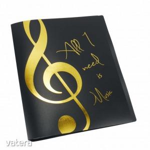 Előadó mappa arany violinkulcsos, fekete
