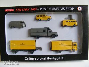 FA56 H0 1:87 Wiking 80-12 Edition 2007 Posta szett, VW Transporter T1, Opel Olympia, Magirus, MB LP